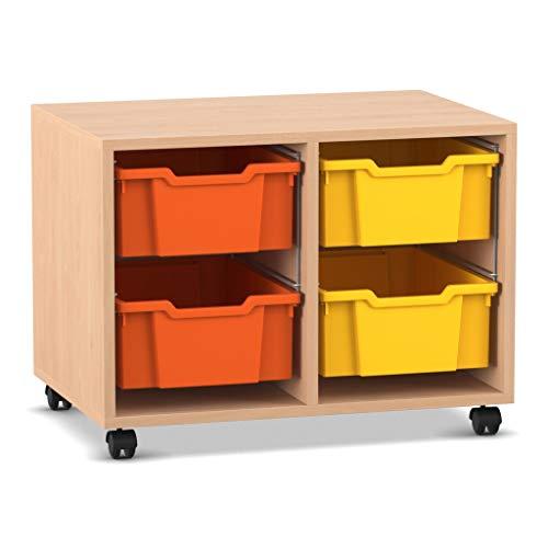 Flexeo - Regal PRO mit 2 Reihen und 4 große Boxen - Mobiles Holz-Regal Schule Klassenzimmer-Regal Ordnungs-Regal