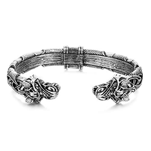 lefeindgdi The Great Fenrir Handcrafted Bracelet Viking Bracelet Bangle Fashion Jewelry for Men Women