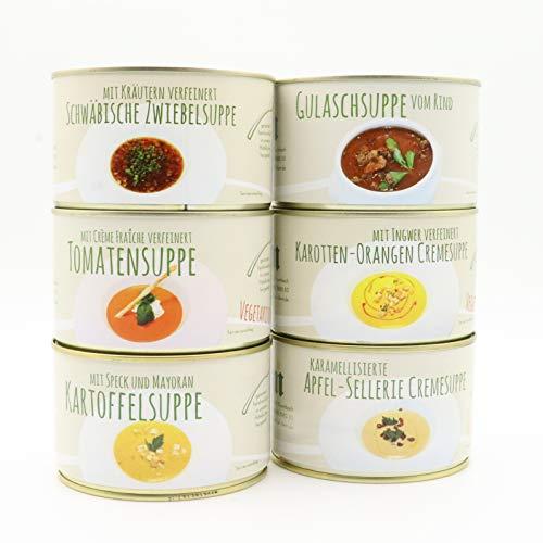 Diem Suppe Paket , Probierpaket - Lieblingssuppe - Apfel Sellerie Suppe, Zwiebelsuppe, Kartoffelsuppe, Karotten Orangen Suppe, Tomatencremesuppe, Gulaschsuppe 6 x 400g Konserve (10,12 € / Kg)