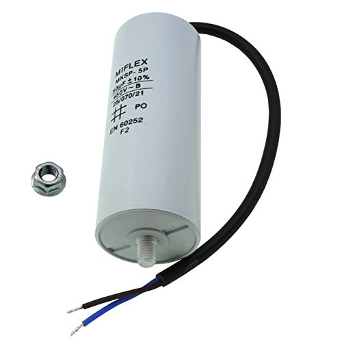 AnlaufKondensator MotorKondensator 50µF 450V 45x114mm Leitung M8 ; Miflex ; 50uF