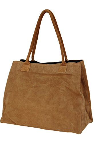 AMBRA Moda Damen Wildleder Handtasche Schultertasche Shopper WL810 (Cognac)