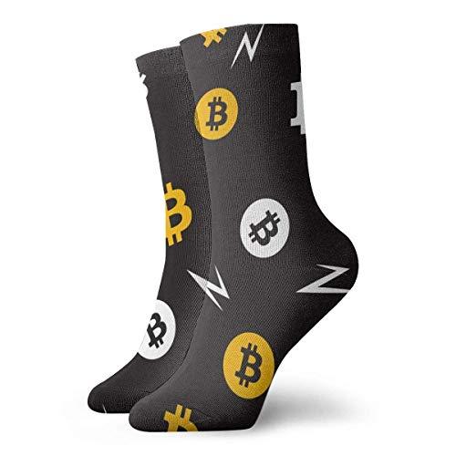QUEMIN Calcetines deportivos de algodn para hombre y mujer con patrn de Bitcoin, calcetines largos novedosos, regalos, calcetines unisex, calcetines transpirables