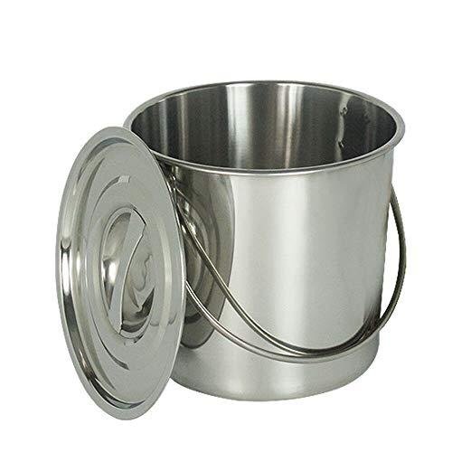 Generic 12 L Eimer Edelstahleimer Kücheneimer Futtereimer Milcheimer Sektkühler mit Edelstahl Deckel