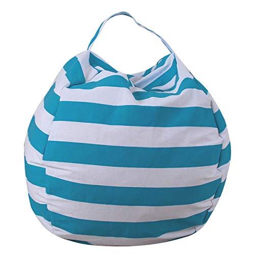 THEE Spielzeug Aufbewharungstasche Streife Sitzsack Aufbewahrung Beutel Lagerung (18 inch, Hellblau)