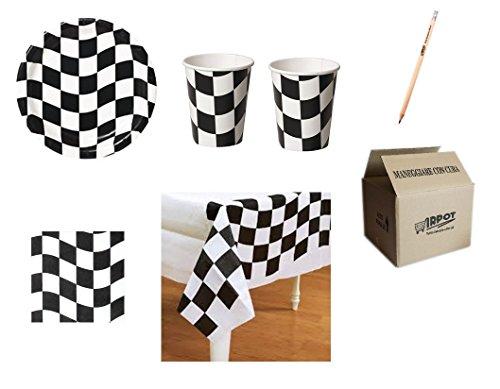 Creative Converting IRPot - COORDINATO BANDIERA A SCACCHI BIANCO NERA FORMULA 1 F1 N.16