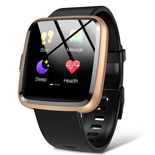 Hommie Montre Connectée Femme Homme Smartwatch Sport Etanche IP67 Bracelet Connecté Cardiofréquencemètre Podomètre Fitness Tracker d'Activité Tensiomètre Oxymètre pour Android iPhone Samsung Huawei