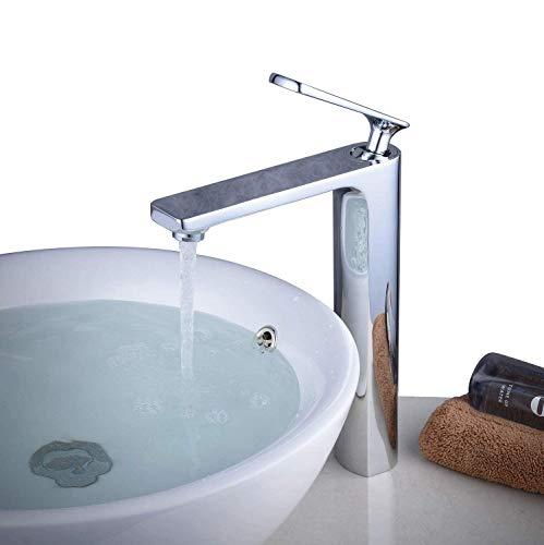 Beelee Modern Einhebel Bad Waschbecken Armatur Kaltes und Heißes Wasser Vorhanden Hoch Mischbatterie, BL6682CH