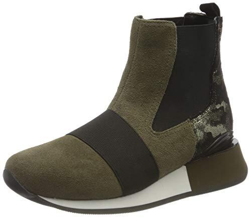 Sneakers Estilo botín en Verde Kaki con Print de...