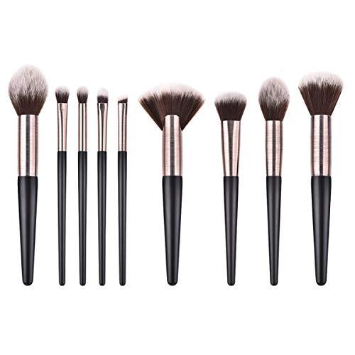 Lurrose 9pcs maquillage pinceau poils de nylon professionnel poignée en bois cosmétiques pinceau blush pinceau poudre pinceau kit pour dames femmes filles