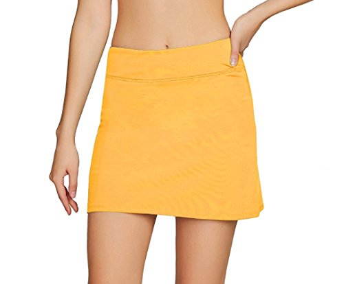 Women's Casual Pleated Tennis Golf Skirt with Underneath Shorts Running Skorts yl l Yellow