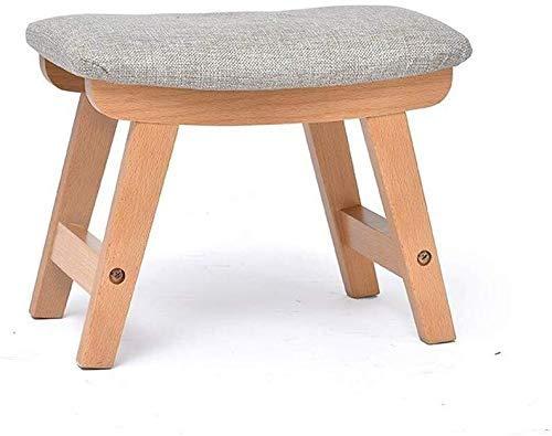 ZFFSC Taburete pequeño Banco de madera maciza taburete extraíble y lavable, gris, Wood Color