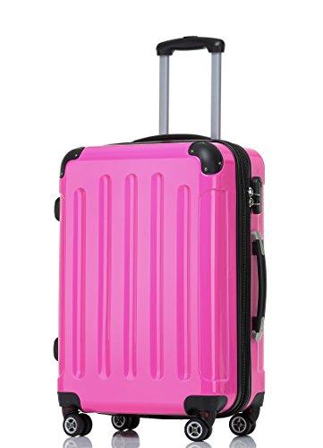 BEIBYE Hartschalen Koffer Trolley Rollkoffer Reisekoffer 4 Zwillingsrollen Polycabonat (Pink, 66cm - 70L)