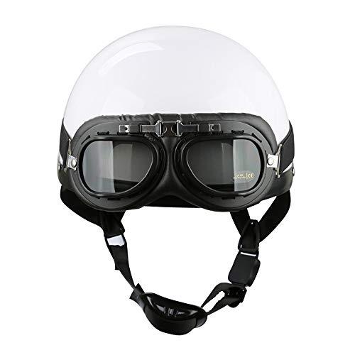 Braveking Casco Moto Jet con Gafas, Half-Helmet 1/2 Hombres Y Mujeres Casco...