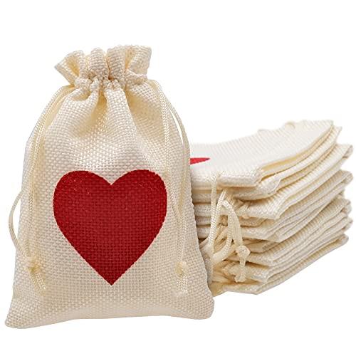INHEMING 12 Piezas Bolsas Saco de Yute, Bolsas para Regalos,Bolsitas de Tela con Cordón, Bolsas de Arpillera,Bolsa Craft Bolsas para Joyas ,Saco Navidad -14,5 * 10 cm