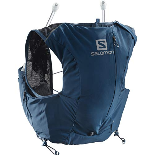 Salomon Womens Advanced Skin 8 Set Trail Running Vest Backpack, Poseidon/Night Sky, Large