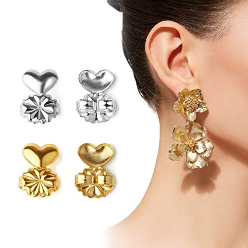 AsaVea Earring Lifters - 2 Pairs of Adjustable Hypoallergenic Earring Lifts (Gold Color and Silver Color and Rose Gold Color)