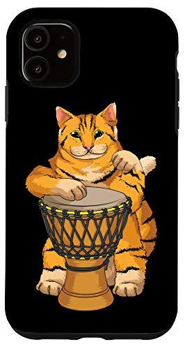 iPhone 11 Funny Cat Playing Djembe Gift | Cute Kitten Musician Fan Case
