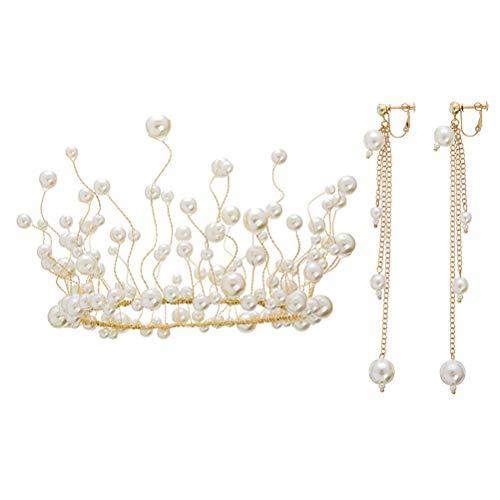 Juego de pendientes de perlas hechos a mano con corona para novia, juego de joyería para boda fiesta desfile