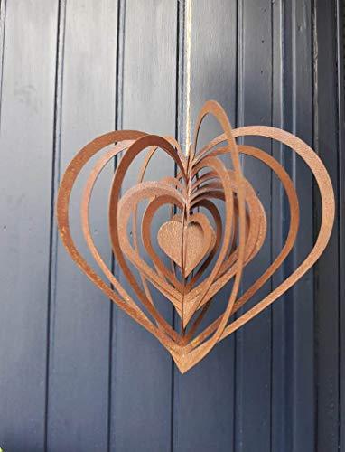 Smuk Windspiel Herz Edelrost Gartendeko hängend Metall rostig