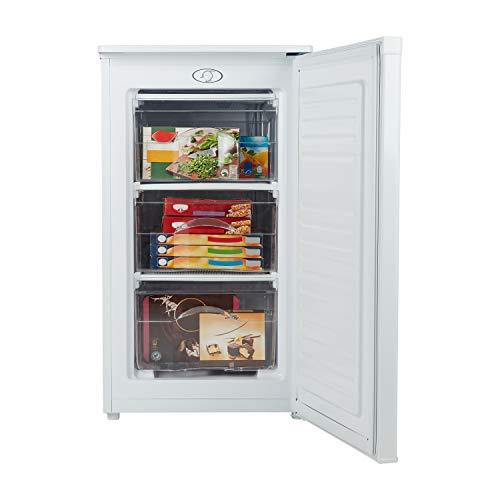 MEDION Gefrierschrank (60 Liter, 85cm hoch, 3 transparente Schubladen, Eiswürfel, Türanschlag wechselbar, MD37157) weiß