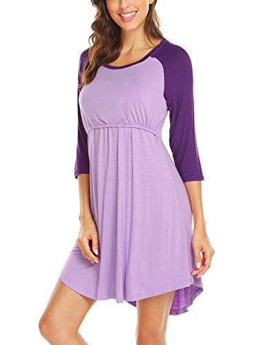 Unibelle Damen Stillnachthemd Umstands-Nachthemd Stillkleid Umstandskleid mit Stillfunktion Lila - 3