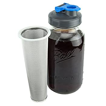 County Line Kitchen - Cold Brew Mason Jar Coffee Maker Durable Glass Heavy Duty Stainless Steel Filter Flip Cap Lid - 64 oz 2 Quart No Handle
