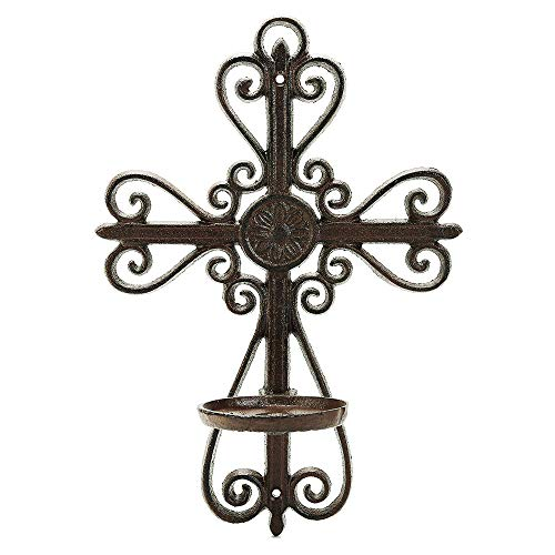 Sungmor Cast Iron Wall Hanging Sconce Tealight Pillar Candlesticks Holder - Vintage Simple Style Hollow Cross Home Candle Display Holder - Handmade Art Candle Stand Decor for Indoor Outdoor