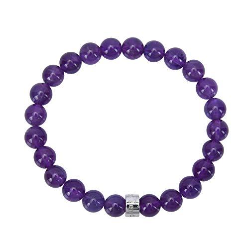 Attraction ZenTM – Natural Stone – Brazilian Amethyst – Stainless Steel Z Bead – Expandable Bracelet – Handmade – 8 mm Stones