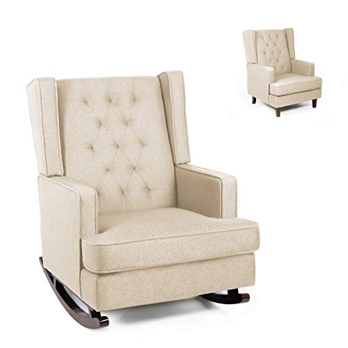 Modern Glider Rocker Chair Rocking Chair with Two Sets of Legs Mid Century Accent Chair Fabric Armchair Dual-use Design (Beige)