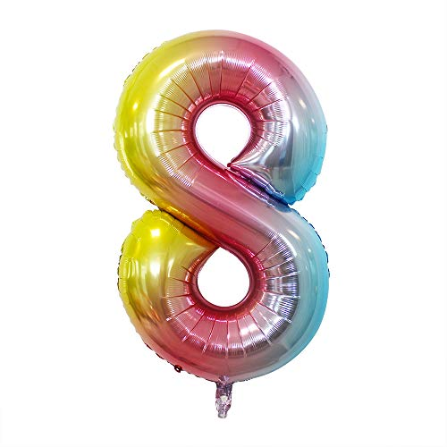 2 Pcs 42 Inch Rainbow Number 8 Foil Balloons by GOER,Number Balloons for 8th Birthday Party Supplies Anniversary Decorations
