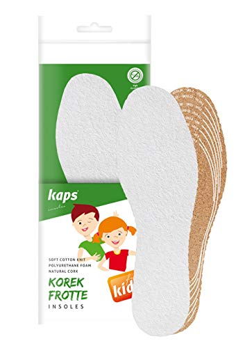 Kaps Kork Frotte Kids – Frottee und Kork Einlegesohlen für Kinder – langlebige Korksohle Schuheinlagen aus Naturkork – bequeme Korkeinlegesohlen und Korkeinlagen