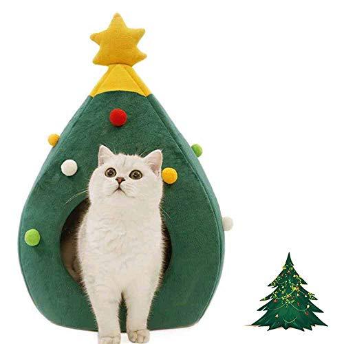 Ushang Cuccia, tenda, grotta, casa per animali domestici, cani, gatti, per interni, decorazione natalizia per casa, portatile, verde, 38 x 38 x 60 cm