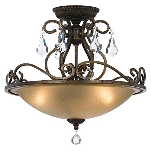 Crystorama 5010-EB-CL-S Ashton - Three Light Flush Mount, English Bronze Finish with Clear Swarovski Strass Crystal