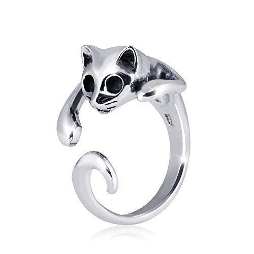 MATERIA Offener Ring Katze LAZY CAT - 925 Silber Damen Ring Tier antik inkl. Ring Etui #SR-70, Ringgrößen:57 (18.1 mm Ø)