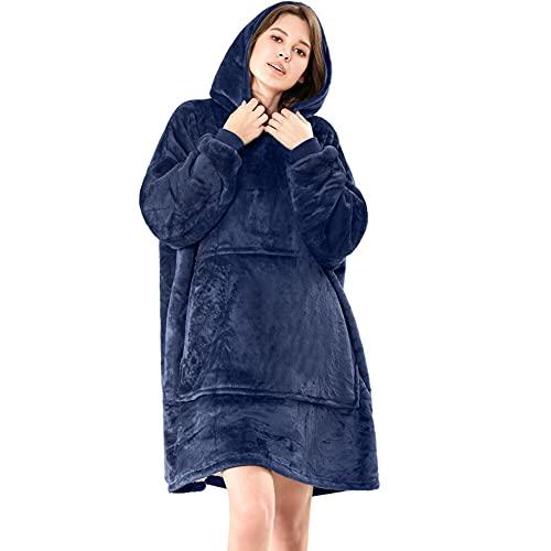 Lushforest Sudadera con Capucha, Sudadera con Capucha de Gran tamaño , cálida, cómoda, para Adultos, Hombres, Mujeres, Adolescentes. (Azul)