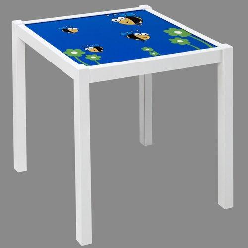 PEGANE Table Enfant en Bois Blanc avec de Pieds carrés, Dimensions : 48 x 48 x 43 cm