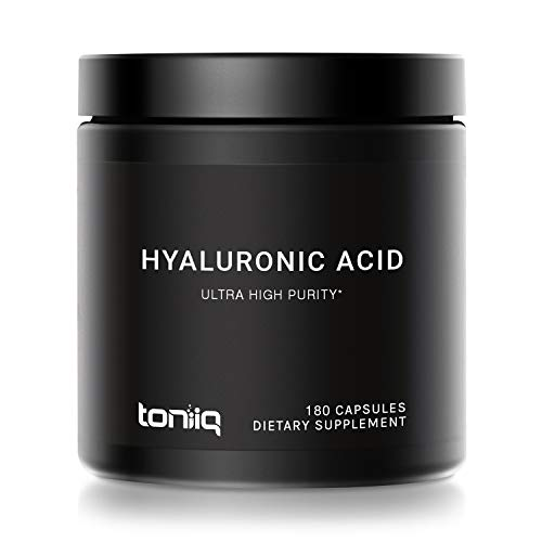 Ultra High Purity Hyaluronic Acid Capsules - 95%+ Highly Purified and Highly Bioavailable - 275mg Formula - Non-GMO Fermentation - High Strength with Vitamin C - 180 Capsules