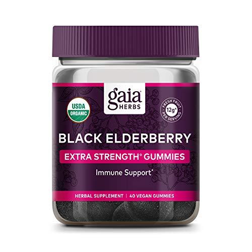 Gaia Herbs, Extra Strength Organic Sambucus Black Elderberry Vegan Gummies Supplement for Daily Immune and Antioxidant Support, 40-Count