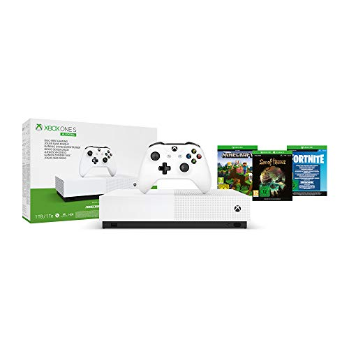 Microsoft - Xbox One S 1 TB All-Digital Edition, Fortnite (juego digital), Sea of Thieves (juego digital), Minecraft (juego digital)