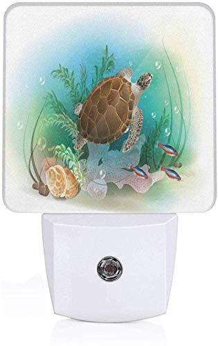 Zwemmen voor zeeschildpad in de oceaan onderwaterwereld tropisch aquarium illustratie volledig groene WC bruin LED wandlamp I_White