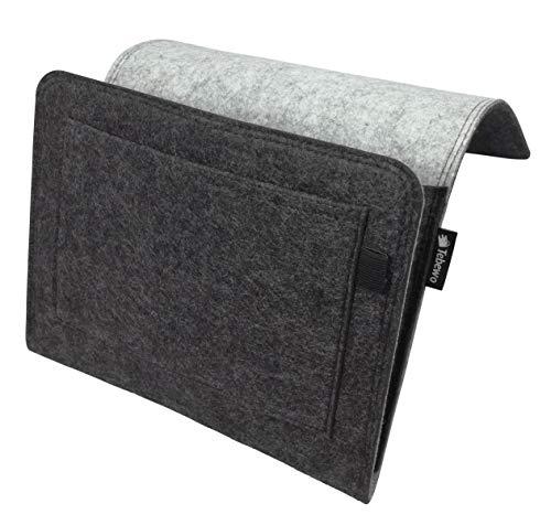 Tebewo Bett-Organizer aus Filz | stabile Bett-Ablage | Hängeregal für Bettkasten | Bett-Tasche zur Aufbewahrung von Büchern, Fernbedienung und mehr (grau/dunkelgrau)