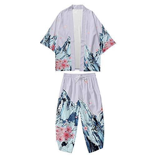 Conjunto de Chaqueta Kimono para Hombre,Pantalones Harem Casuales,Capa con Estampado Retro Japonés,Cárdigan Fino de Primavera Verano,Purple-4XL