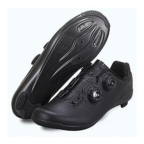 RTY Zapatillas de Ciclismo de Carretera para Hombre Zapatillas de Ciclismo con Tacos Zapatillas de Pelotón Compatibles con SPD y Delta para Zapatillas de Ciclismo con Bloqueo de Pedal,Negro,39