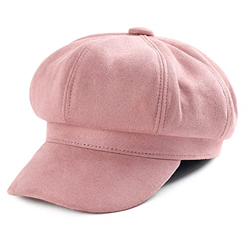 Womens Newsboy Cap Baker Boy Cabbie Gatsby Hat Visor Beret Casual Peaked Hats for Ladies Adjustable Pink