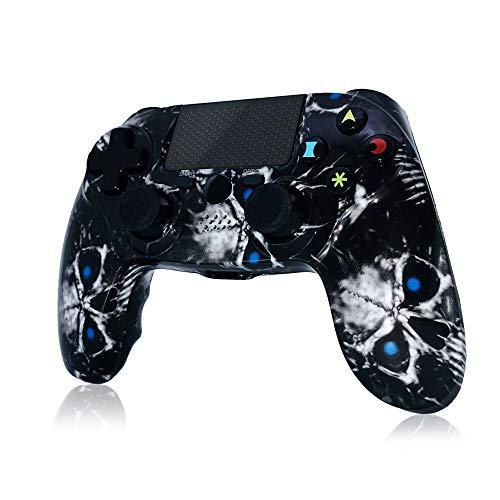 Mando PS4 Inalámbrico 2020 Nuevo diseño High Performance Dual Shock para Playstation 4 / Pro/Slim/PC con función de Audio, Mini indicador LED(Skull)