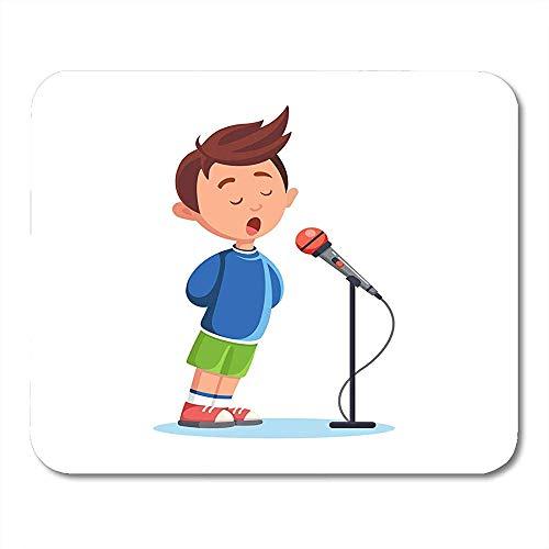 Muis Pads Voice Zing Jongen Zingen Song Singer Met Microfoon Kind Muziek Prestaties Student School Muis Pad Voor Computers