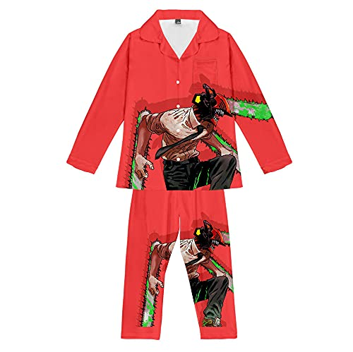 Hombre de Motosierra Anime Conjunto de Pijama Manga Larga Hombre Mujer 3D Dibujos Animados Pijamas Verano Suave Liso Unisex
