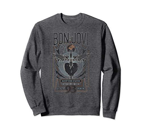 Unisex Bon Jovi Keep the Faith Sweatshirt, Heather Gray, S to 2XL