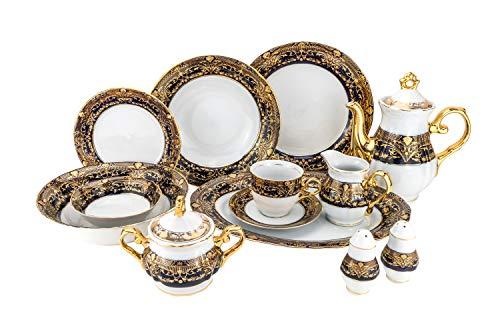 Euro Porcelain 57-pc Banquet Dinnerware Set Luxury China Tableware Service for 8 - Original Czech Republic Cobalt 24K Gold