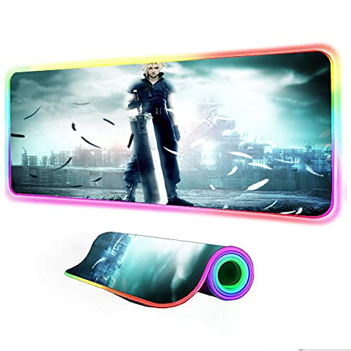 Gaming Mouse Pad Final Fantasy VII Advent Children Large Gaming Led Backlit Mat RGB Gaming Lights Computer Mat Gamer Accessories 24 inch x12 inch x0.15 inch